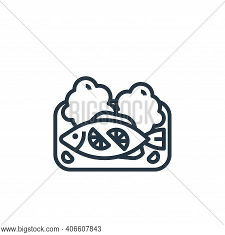 steamed fish icon isolated on white background from seafood collection. steamed fish icon thin line