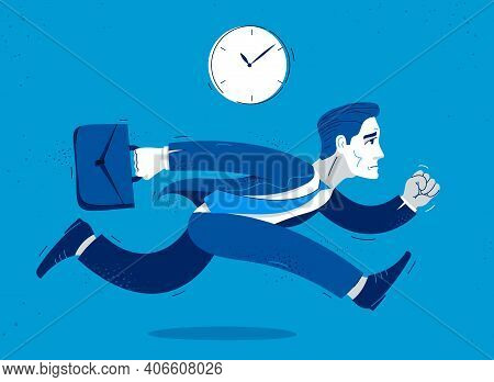 Business Man Run And Hurry Late Vector Illustration, Funny Comic Cute Cartoon Accountant Or Business