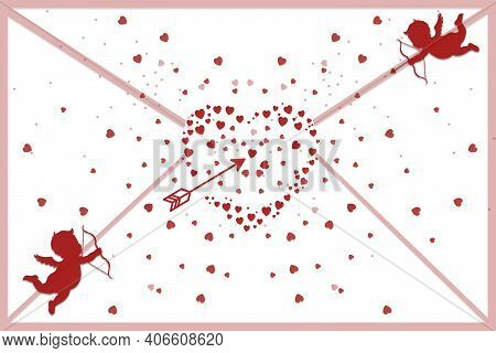 Envelope Shape With Two Angels Shooting Arrows At A Big Heart Full Of Small Hearts Dispersing Agains