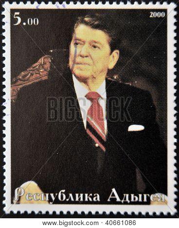 ABKHAZIA - CIRCA 2000 : Stamp printed in Abkhazia shows portrait Ronald Reagan circa 2000