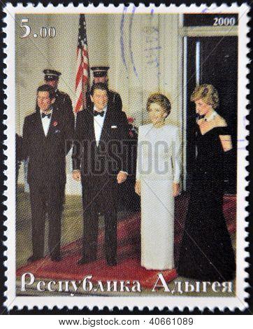 ABKHAZIA - CIRCA 2000 : Stamp printed in Abkhazia shows Charles of England Ronald Reagan Nancy Reaga