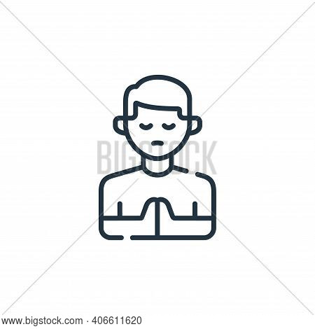 praying icon isolated on white background from kindness collection. praying icon thin line outline l