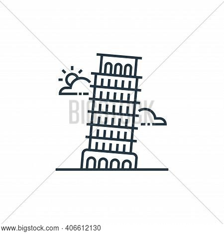 pisa tower icon isolated on white background from tourism collection. pisa tower icon thin line outl