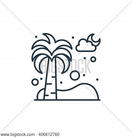 palm tree icon isolated on white background from islam and ramadan collection. palm tree icon thin l
