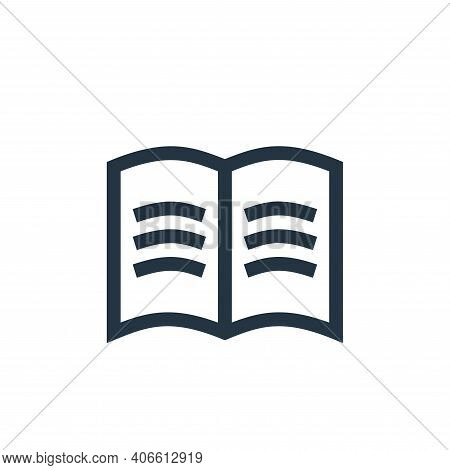 open book icon isolated on white background from management collection. open book icon thin line out