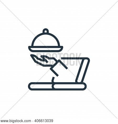 online icon isolated on white background from food delivery collection. online icon thin line outlin