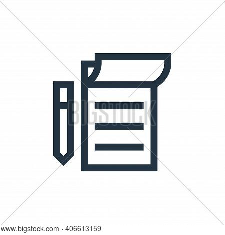 notebook icon isolated on white background from news collection. notebook icon thin line outline lin