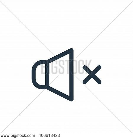 mute icon isolated on white background from music collection. mute icon thin line outline linear mut