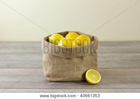 Jute Sack Of Lemons, Horizontal