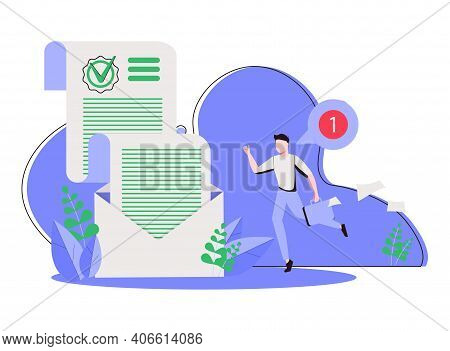 Happy Man And Sheet Of Paper With Green Check Mark Inside Envelope. Concept Of Confirmation, Accepta