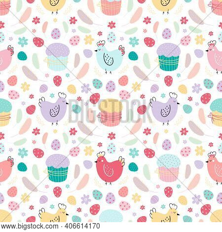 Easter Seamless Pattern. A Pattern With Chickens Decorated With Eggs, Cakes, And Feathers. Design Fo