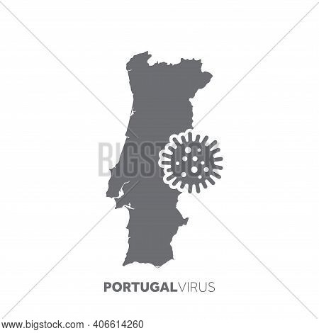 Portugal Map With A Virus Microbe. Illness And Disease Outbreak