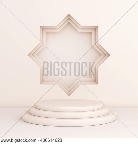 Islamic Display Podium Decoration Background On White, Ramadan Kareem, Mawlid, Iftar, Isra Miraj, Ei