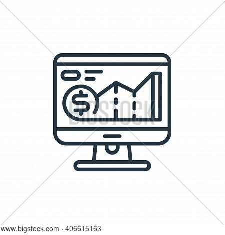 monitor icon isolated on white background from money and currency collection. monitor icon thin line