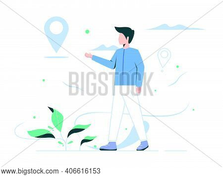 Vector Illustration Of A Person Concept. People Will Determine The Destination For The Vacation Loca