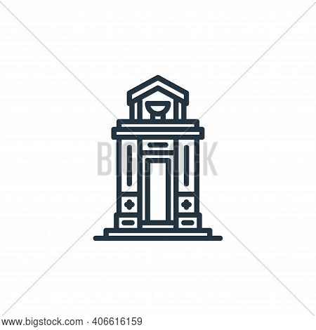 Mausoleum icon isolated on white background from funeral collection. Mausoleum icon thin line outlin