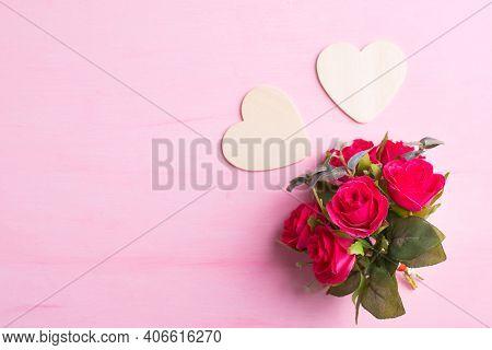Beautiful Red Rose Flower Bouquet With Heart Shape On Pink Background, Valentine Day