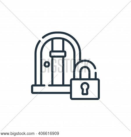 locked door icon isolated on white background from videogame collection. locked door icon thin line