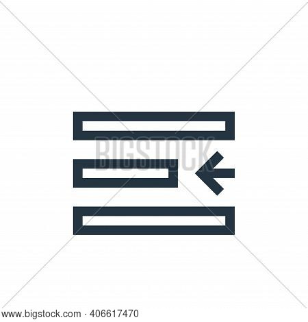left indent icon isolated on white background from text editor collection. left indent icon thin lin