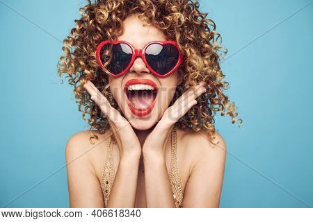 Pretty Woman Holding Hands Near Face Red Lips Fun Heart Glasses