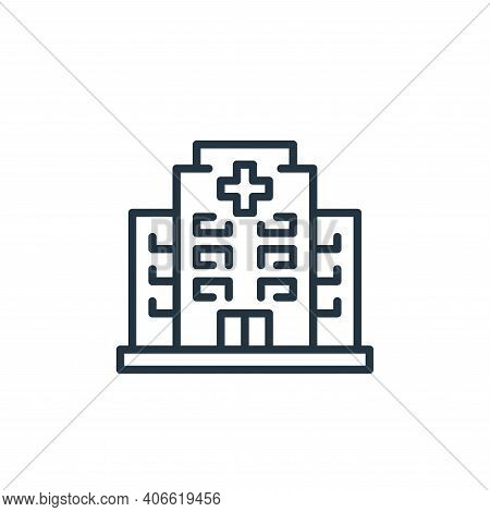 hospital icon isolated on white background from virus transmission collection. hospital icon thin li