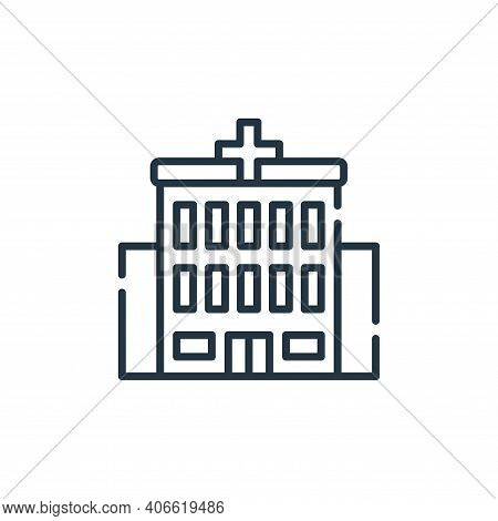 hospital icon isolated on white background from allergies collection. hospital icon thin line outlin