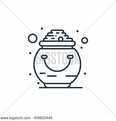 gold pot icon isolated on white background from saint patrick collection. gold pot icon thin line ou