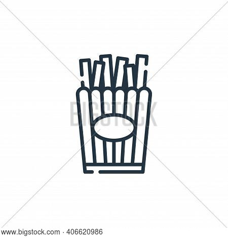 french fries icon isolated on white background from circus collection. french fries icon thin line o