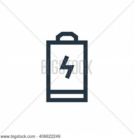 empty battery icon isolated on white background from electrician tools and elements collection. empt