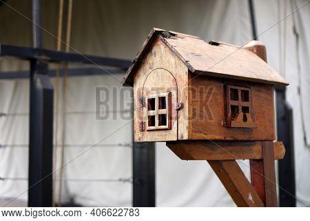 Brown Wooden Mailbox In The Yard. Wooden Mailbox