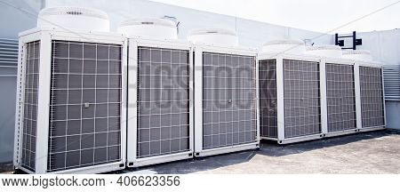 Air Conditioner Units (hvac) On A Roof Of Industrial Building