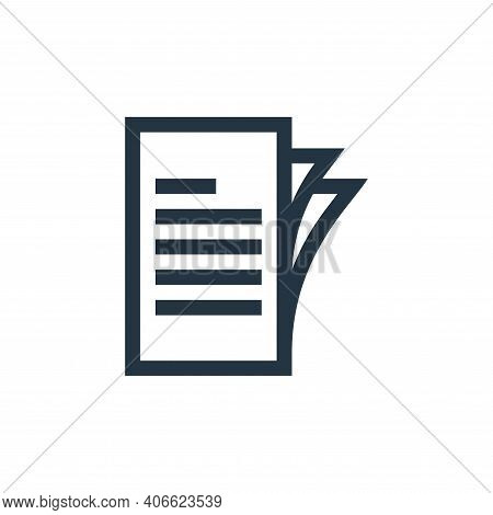 document icon isolated on white background from job resume collection. document icon thin line outli