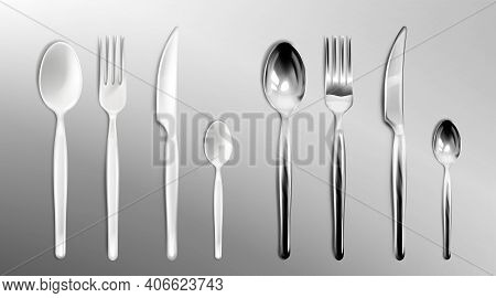 White Plastic And Steel Cutlery Isolated On Transparent Background. Vector Realistic Set Of Flatware