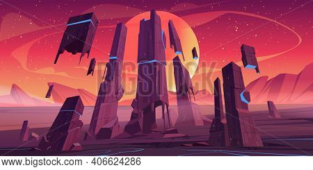 Alien Planet Landscape With Rocks And Futuristic Building Ruins With Glowing Blue Cracks. Vector Car