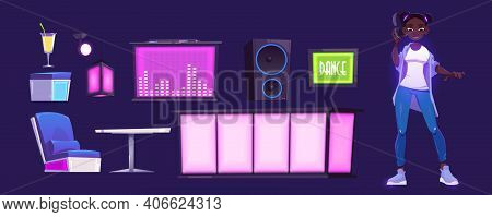 Girl Dj And Nightclub Equipment With Bar Counter, Table And Mixer Console. Vector Cartoon Set Of Dan