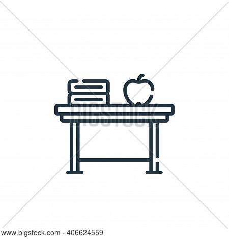 desk icon isolated on white background from academy collection. desk icon thin line outline linear d