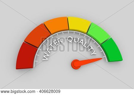 Color Scale With Arrow From Red To Green. The Water Quality Level Measuring Device. Sign Tachometer,