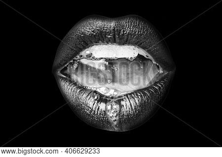 Saliva In The Mouth. Female Open Mouth With Sexy Lips And Teeth Closeup On Black Background