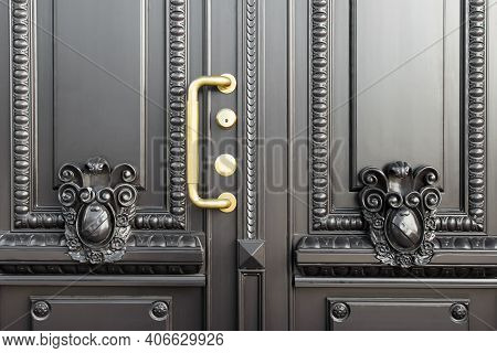 Vintage Carved Luxury Expensive Entrance Door With Detailed Decor And Golden Handle.