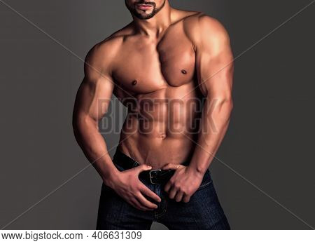 Sexy Man. Healthy Muscular Mans Body. Topless Shirtless Male Model. Naked Gay