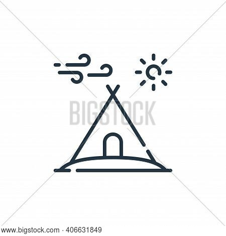 camping tent icon isolated on white background from desert collection. camping tent icon thin line o