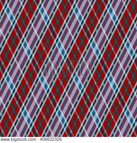 Rhombic Seamless Vector Pattern As A Tartan Plaid Mainly In Red, Magenta And Turquoise Hues, Texture