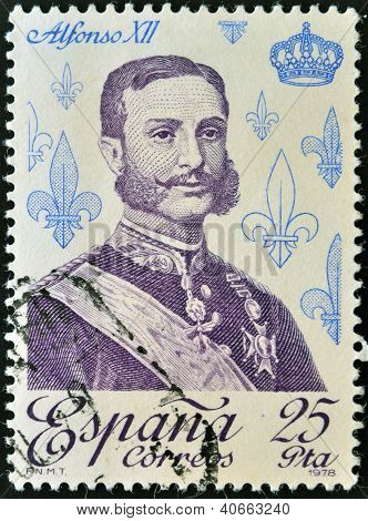 SPAIN - CIRCA 1978: A stamp printed in spain shows King Alfonso XII circa 1978
