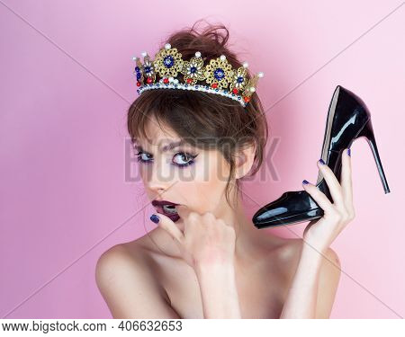 Fetish And Shopping Of Pretty Woman. Fetish Of Young Woman Hold Shoe