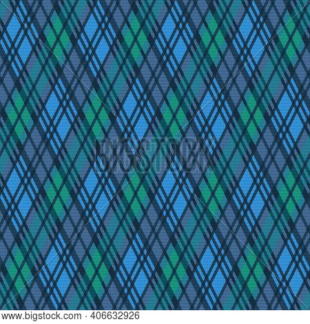 Seamless Rhombic Illustration Muted Pattern As A Tartan Plaid In Blue, Green And Grey Hues, Texture