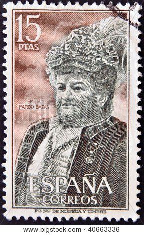 SPAIN - CIRCA 1972: A stamp printed in Spain shows Emilia Pardo Bazan circa 1972