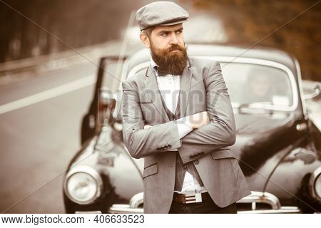 Vintage Journey And Business Trip Or Hitch Hiking. Journey By Car Of Bearded Hipster. Retro Style