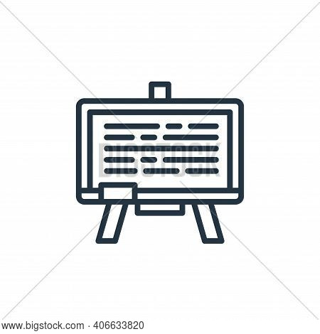 blackboard icon isolated on white background from education collection. blackboard icon thin line ou