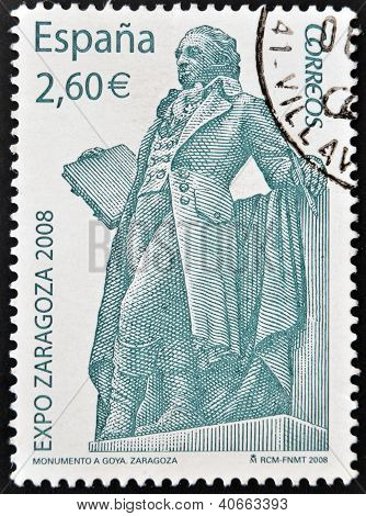 SPAIN - CIRCA 2008: A stamp printed in Spain shows monument to Francisco de Goya y Lucientes