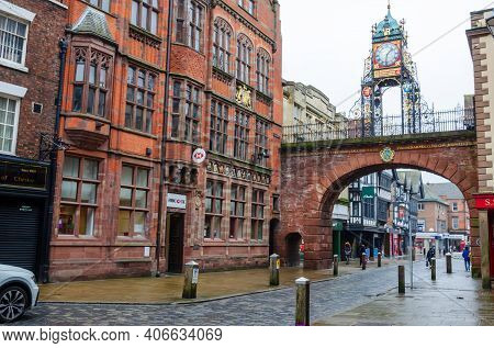 Chester; Uk: Jan 29, 2021: A General View In The Historic City Centre Of Chester On A Friday Afterno
